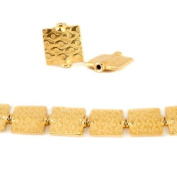12mm 22kt Gold Plated Copper Eye Embossed Square Beads, 8 inch