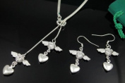 46cm Sterling Silver Plated Angel Necklace with Earrings