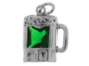 Sterling Silver and Cubic Zirconia Green Beer Charm