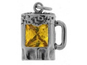 Sterling Silver and Cubic Zirconia Beer Charm