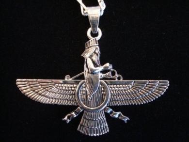 Large Farvahar Necklace Iranian Gift Persian Art Iran Persia Farohar Pahlavi
