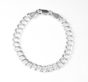 Sterling Silver 4.5mm 070 Double Link Traditional Charm Bracelet 7""