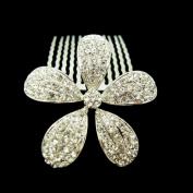 Fashion Flower Candy Hair Comb Wedding Hair Bow Pin Czech Crystal