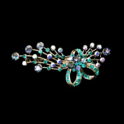 Flower Bouquet Bow Brooch Pin Bridal Bridesmaid Czech Crystal