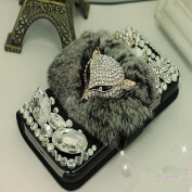EVTECH(TM) Luxury Crystal Fox Diamond Bling Charming Plush Design PU Leather Wallet Cover Case Faceplate for Samsung Galaxy Note 3 SM-N9000