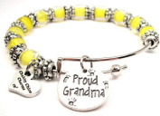 Proud Grandma Lemon Yellow Glass Beaded Adjustable Bangle Bracelet ChubbyChicoCharms