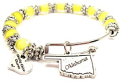 Oklahoma State Lemon Yellow Glass Beaded Adjustable Bangle Bracelet ChubbyChicoCharms