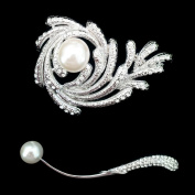Set of Crystal Brooch Pin & Rhinestone Pearl Brooch