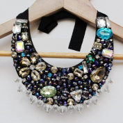 Black Collar Necklace with Colours Crystal Bowknot Detachable ; Plus a Free Gift Cellphone Anti-dust Plug