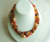 Orange Four Strands Beads Necklace with Extension