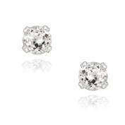 Glitzy Rocks Sterling Silver 3mm White Topaz Stud Earrings