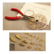 Necklace Bracelet Bead Stringing / Repair Starter Kit Goldtone Beading Kit - clasps crimps wire cord..