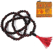 ROSEWOOD 108 MALA BEADS ~ 8mm Size ~ w/ Om Zippered Mala Pouch