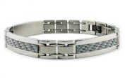 Stainless Steel Men's Link Bracelet w/ white Carbon Fibre Inlay 22cm
