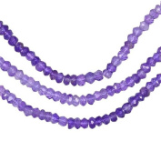 Shaded Amethyst Micro Faceted Rondelle Genuine Natural Beads Strand ~3.3mm 13""