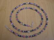 Aqua. Crystal Confetti Beaded Eyeglass Chain