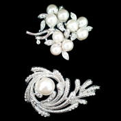 Set of Crystal Brooch Pin & 3 Pearl Set Flower Brooch