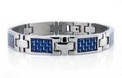 Titanium Bracelet w/ Blue Carbon Fibre Inlay 22cm