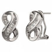 New Gorgeous 925 Sterling Silver Cz Baguette Infinity Earrings