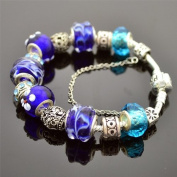 Blue Flower Beaded Charm Bangle Bracelet