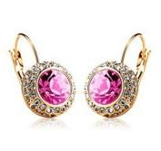 Silver & Pink Crystal Earrings Princess Kate Style