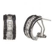 New 925 Sterling Silver Cz Black & White Huggie Earrings with Gift Box