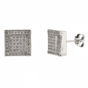 New Mens/unisex 925 Sterling Silver Cz Square Stud Earrings-10mm