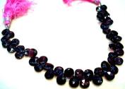 Natural Rhodolite Garnet Faceted Briolette Pear Shape Beads Strand String 20cm