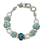 Aqua Blue Murano Bead Bracelet with Crystal Charms