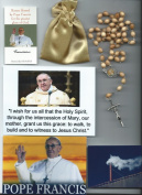 Saint Benedict Rosary Relic Rosary Blessed by Pope Francis on 3/14/2013 at 1st Mass Given by Him at Vatican's Sistine Chapel also Includes Photographs of Mass & Photos of the Conclave the Day Before 50cm L w/Beige Wooden Beads Patron of