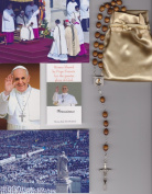 Saint Germaine Cousin Relic Rosary Blessed by Pope Francis on 3/19/2013 at Inauguration Mass Patron of Abused Children Brown Wooden Beads