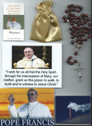 Saint Avellino Relic Rosary Blessed by Pope Francis at 1st Mass Given by Him at Vatican's Sistine Chapel also Includes Photographs of Mass & of the Conclave the Day Before 50cm L with Reddish Brown Wooden Beads and Papal Crucifix Patron to Protect Agai ..