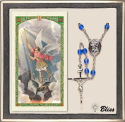 Catholic St Michael Patron Saint US Military Marines Rosary with Crystal Beads and Prayer Card Set by Bliss Manufacturing