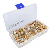 BEADNOVA Natural Mother Of Pearl Nacre Conch Shell Gemstone Round Loose Beads with Bead Organiser Carry Case for Jewellery Making