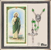 Catholic St Jude Thaddeus Patron Saint Rosary with Peridot Crystal Beads and Prayer Card Set by Bliss Manufacturing