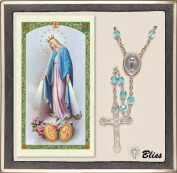 Catholic Miraculous Medal Prayer Rosary with Aqua Crystal Beads and Prayer Card Set by Bliss Manufacturing