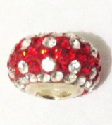 10pcs-white and Red Design -.925 Sterling Silver. Crystal Pave Bead Charm Fits Pandora Chamilia Kay's Troll European Story Charm Bracelets