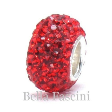 10pcs-red-.925 Sterling Silver. Crystal Pave Bead Charm Fits Pandora Chamilia Kay's Troll European Story Charm Bracelets