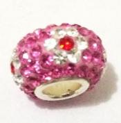 10pcs-flower Design -.925 Sterling Silver. Crystal Pave Bead Charm Fits Pandora Chamilia Kay's Troll European Story Charm Bracelets