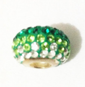 10pcs-green ombré Design -.925 Sterling Silver. Crystal Pave Bead Charm Fits Pandora Chamilia Kay's Troll European Story Charm Bracelets
