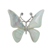 White Mother of Pearl Butterfly Design Shell Brooch Pin