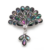 Mother of Pearl Peacock Flower Design Rhinestone Colourful Dark Green Shell Brooch Pin