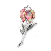 Mother of Pearl Pink Orchid Flower Design Abalone Shell Brooch Pin
