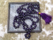 Amethyst Mala. 108 Beads on Knotted Silk; Colour