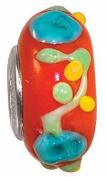 Fenton Art Glass Piccadilly Bead Retired - Handmade Lampwork Glass USA