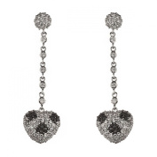 New 925 Sterling Silver Cz Black & White Heart Dangle Earrings with Gift BOX