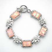 Mother of Pearl Flower Design Rectangle Pink Abalone Shell Link Toggle Bracelet