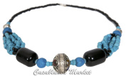 Moroccan Handmade Tribal Stone and African Glass Bead Necklace