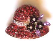 "Crystal Brooch Lapel Pin ""Red Hat with Purple Flowers"""