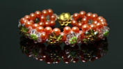 Pearl Beaded Bracelet with Swraovski beaded crowns